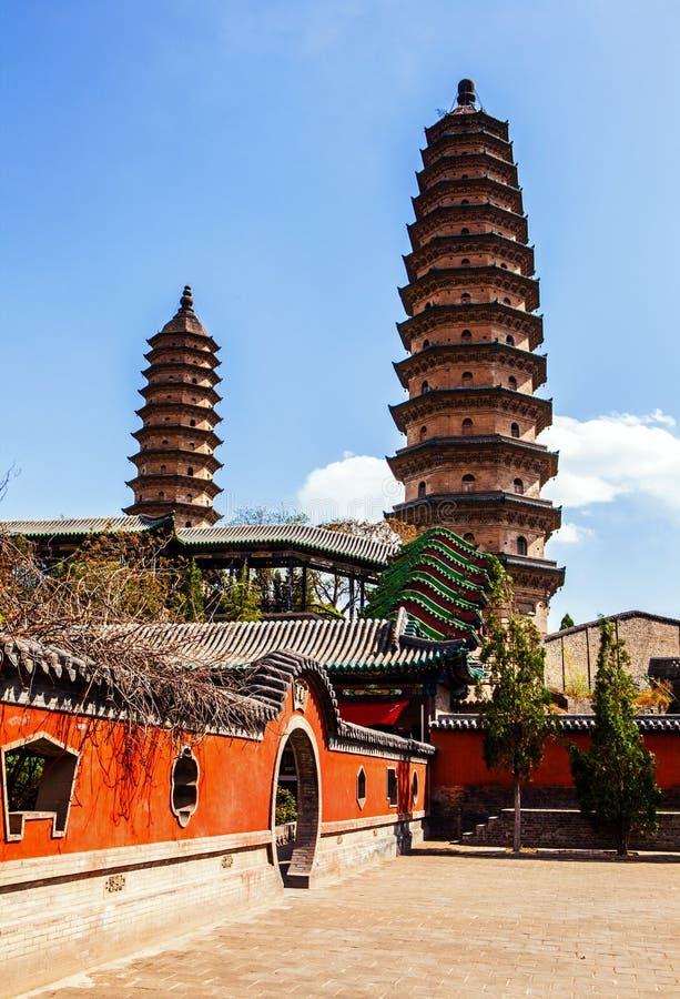 Gemella il vecchio punto di riferimento delle pagode- della città di Tai-Yuan immagini stock libere da diritti