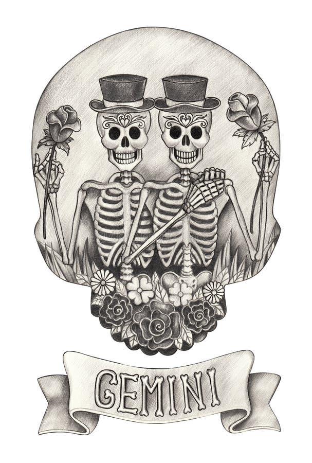 Gemelli del cranio dello zodiaco Disegno della mano sul documento royalty illustrazione gratis