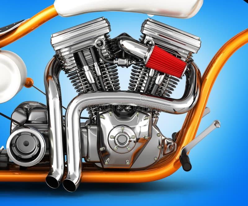 Gemello del motore v del motociclo isolato sull'illustrazione del fondo 3d di pendenza illustrazione vettoriale