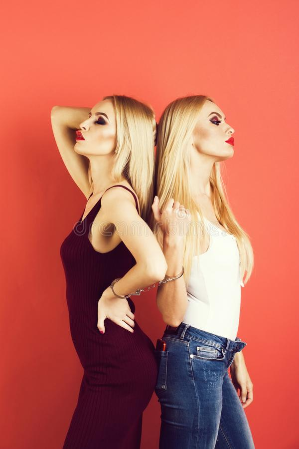 Gemelos de las mujeres, amigos con maquillaje brillante imagen de archivo