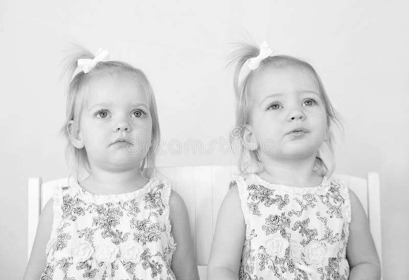 Gemelos en blanco y negro imágenes de archivo libres de regalías