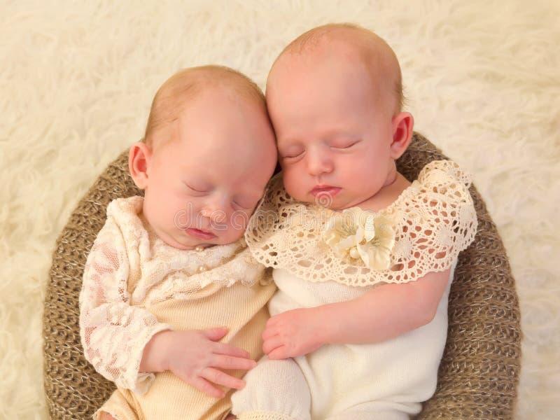 Gemelos recién nacidos junto imagen de archivo