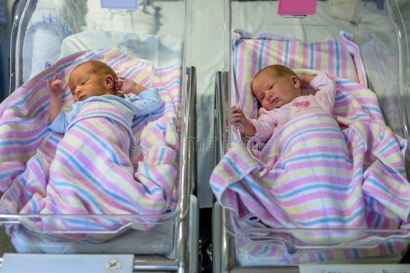 Gemelos recién nacidos muchacho y muchacha en hospital debajo de las mantas fotografía de archivo