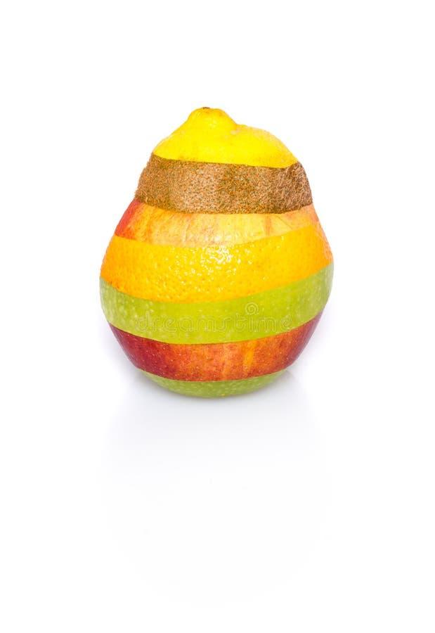 Gemengd fruit op wit - perfecte vorm, geen besnoeiingen royalty-vrije stock foto's