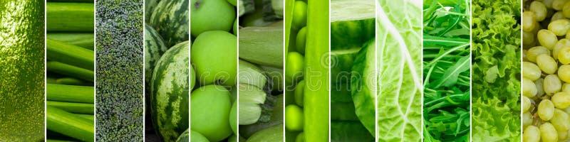 Gemengd van groene vruchten en groenten Collage van vers rijp voedsel royalty-vrije stock afbeeldingen