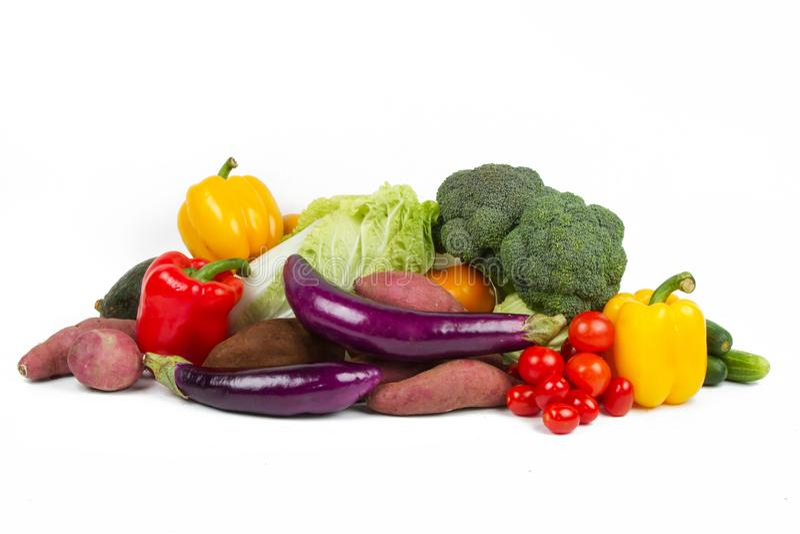 Gemengd van Groenten en Vruchten geïsoleerde stapel stock afbeelding