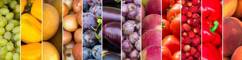 Gemengd van kleurenvruchten en groenten Vers rijp voedsel royalty-vrije stock foto's