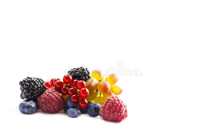 Gemengd van verse die vruchten en bessen op een witte achtergrond worden geïsoleerd Rijpe bosbessen, braambessen, rode aalbessen, royalty-vrije stock foto's