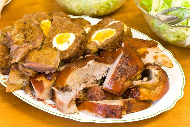 Gemengd vlees-roasted.pigling, eend en gehakt royalty-vrije stock afbeelding