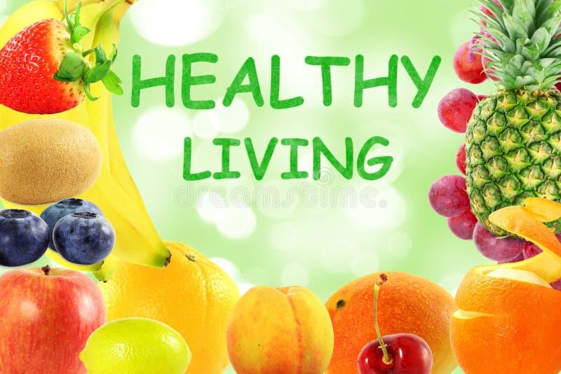 Gemengd vruchten achtergrond gezond voedsellevensstijl het leven concept stock afbeelding