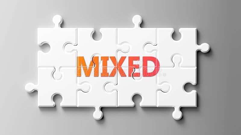 Gemengde complexen zoals een puzzel - als woord Gemengde op een puzzelstukjes om aan te tonen dat Gemengd moeilijk kan zijn en mo stock illustratie