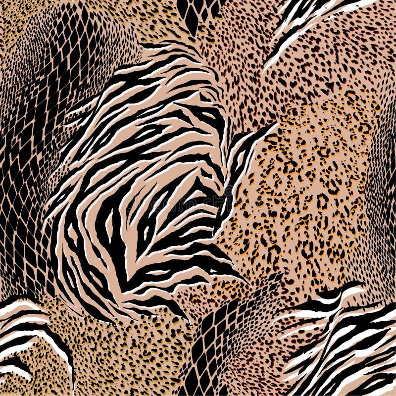 In Gemengde dierlijke huid, tijger, zebra, luipaard, slang, achtergrond vector illustratie