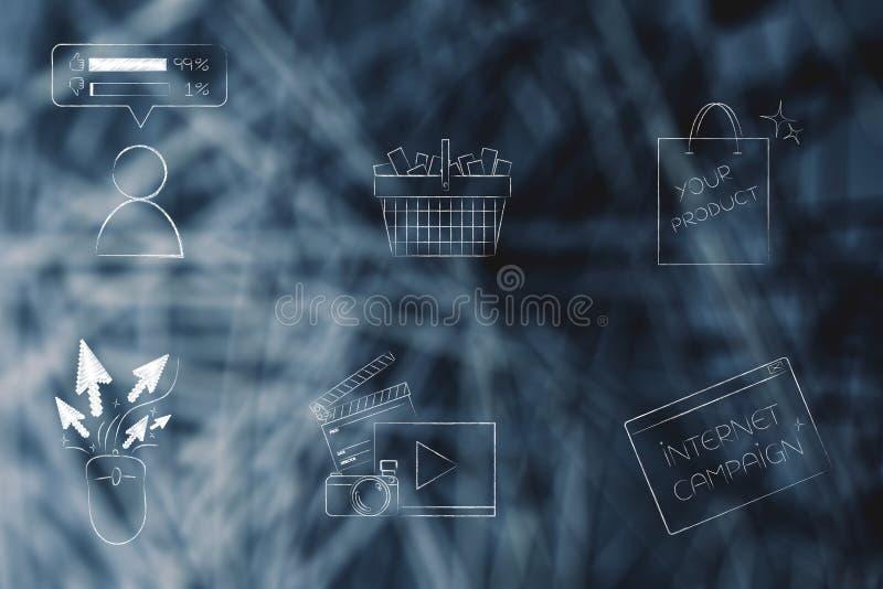 Gemengde echte en online het winkelen pictogrammen stock illustratie