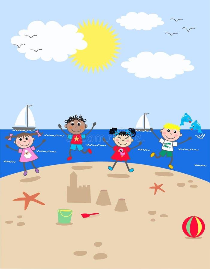 Gemengde etnische kinderen royalty-vrije illustratie