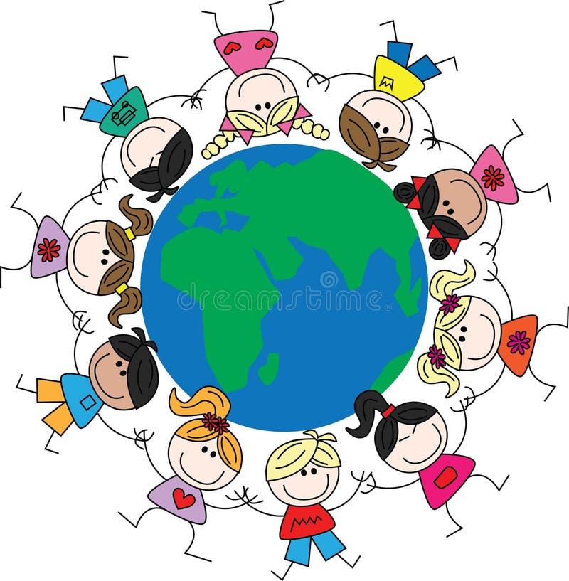 Gemengde etnische kinderen rond de wereld royalty-vrije illustratie