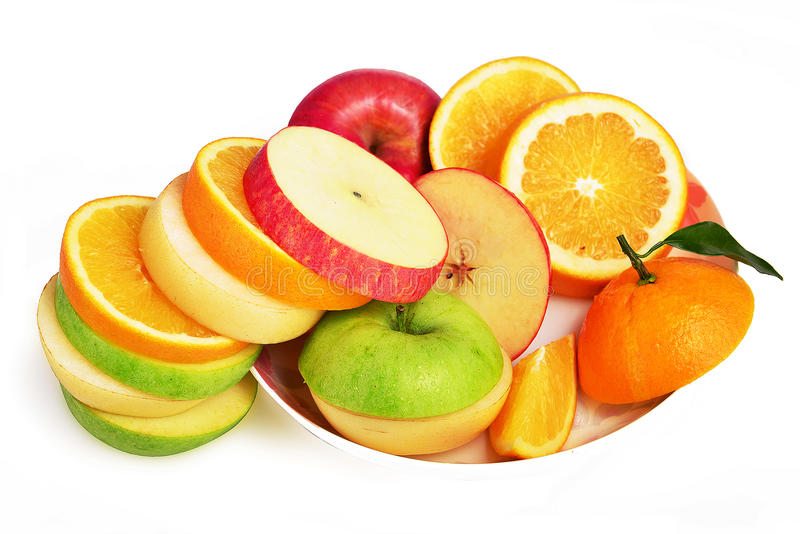Gemengde fruitplakken, Verse Fruitsalade, Apple-peren oranje en groene appel stock foto's