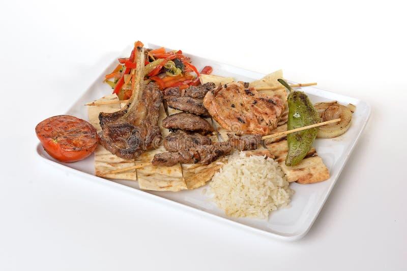 Gemengde Kebab (shish vleesballetjelamskotelet) royalty-vrije stock afbeeldingen