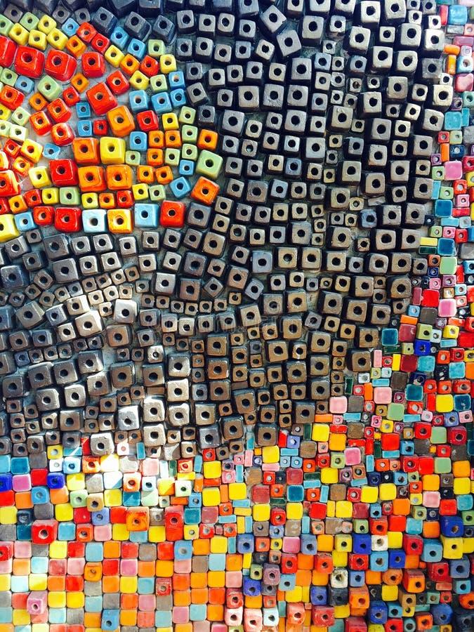 gemengde kleurrijke vierkante patroonmuur royalty-vrije stock foto