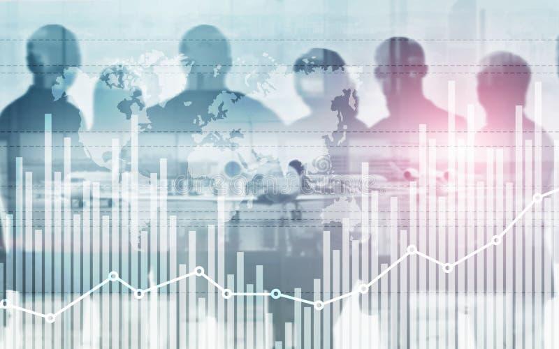 Gemengde media van grafiek en rijen van muntstukken voor financi?n en bedrijfsconcept vector illustratie