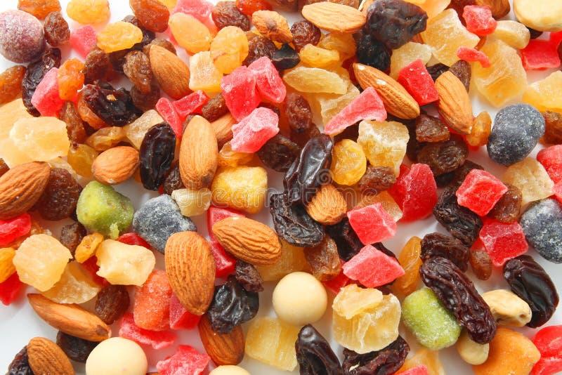Gemengde noten en droge vruchten royalty-vrije stock foto's