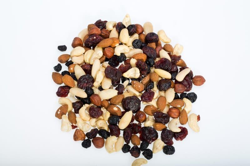 Gemengde noten en droge vruchten stock afbeelding