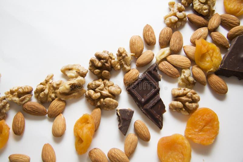 Gemengde noten met geverfte abrikozen en choco royalty-vrije stock afbeeldingen