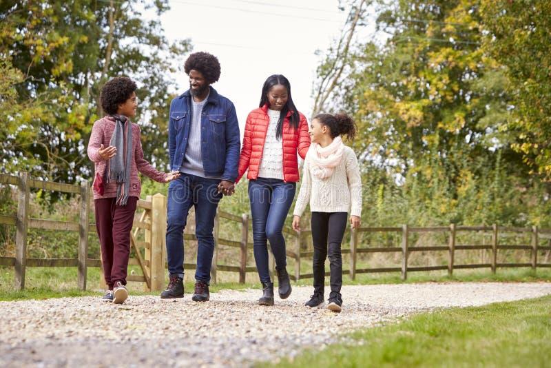 Gemengde rasfamilie die samen op een weg van het land, lage hoek lopen stock afbeeldingen