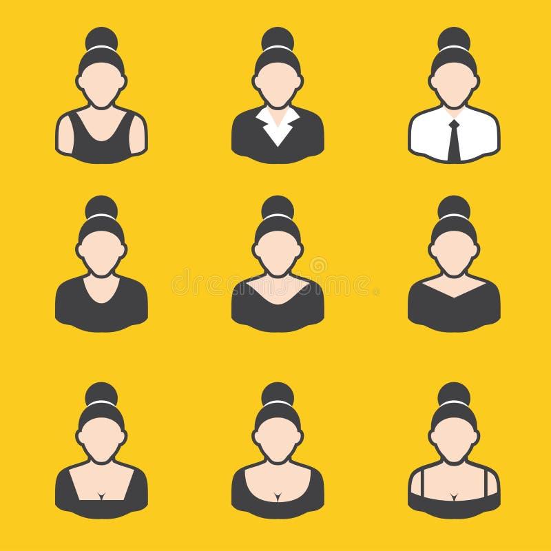 Gemengde reeks van avatar voor vrouwen vector illustratie