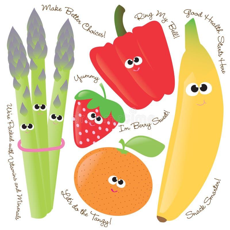 Gemengde vruchten & groenten vector illustratie