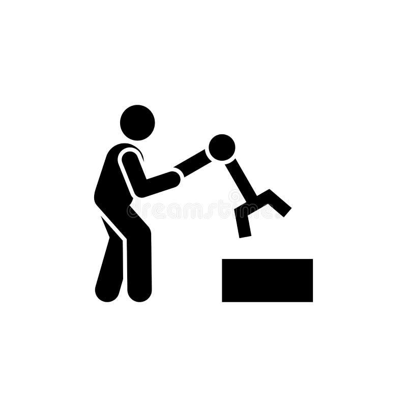Gemensamt robotteknik, tillverkning, branschsymbol Best?ndsdel av den tillverkande symbolen H?gv?rdig kvalitets- symbol f?r grafi stock illustrationer