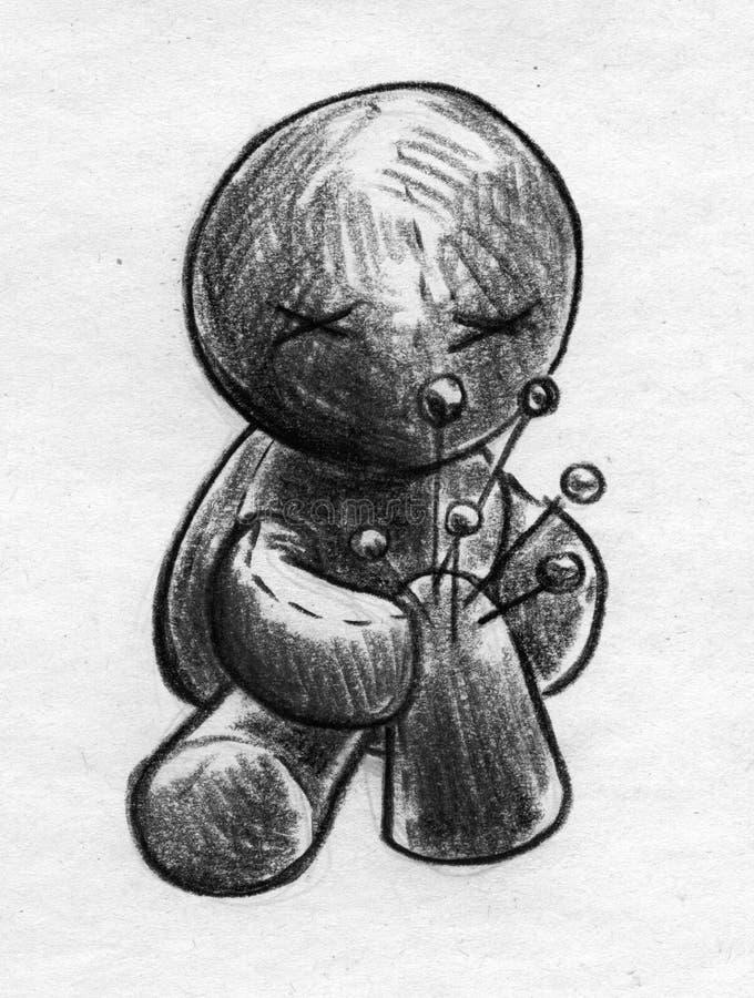 Gemensamt smärta voodoodockan skissar stock illustrationer