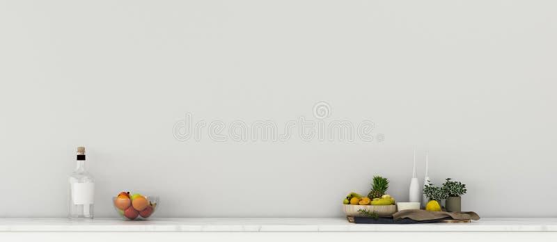 Gemensamt utrymme i köksbar Levande rum med bord och fruktset vektor illustrationer