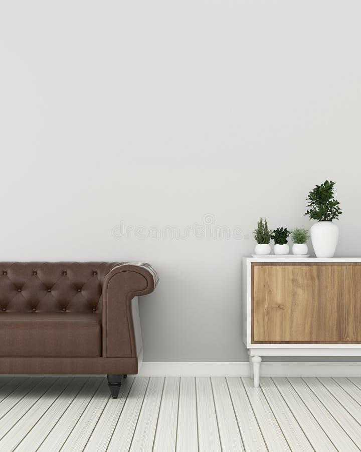 Gemensamt utrymme i mottagningen. Bostadsrum med skåp och soffa. Tappninginredesign vektor illustrationer