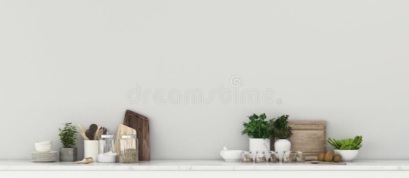 Gemensamt utrymme i mottagningen Köksrum med räknefält stock illustrationer