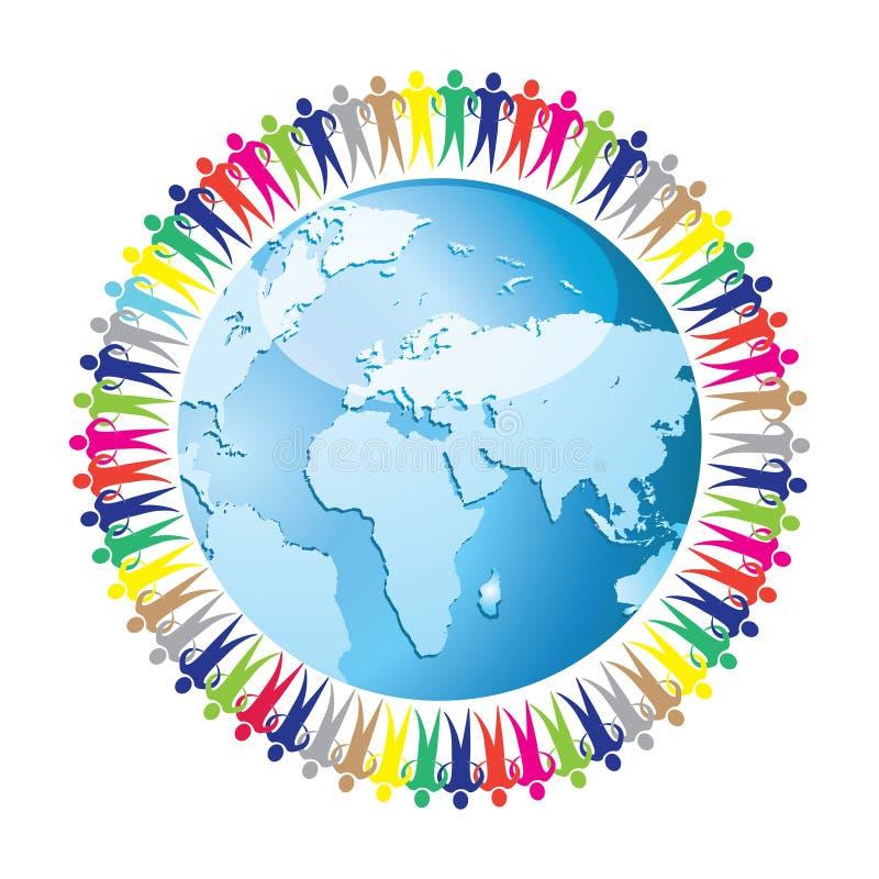 Gemenskap av folk sammanfogad runtom i världen eps10 royaltyfri illustrationer
