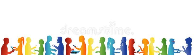 gemenskap Folkmassasamtal Anslutning eller möteorganisation Stort grupp m?nniskorsamtal f?r handpartnerskap f?r begrepp olikt pus stock illustrationer