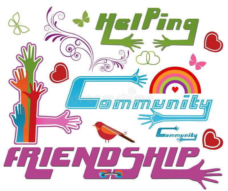 Gemenskap och andra symboler stock illustrationer