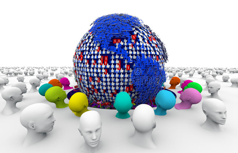 Gemenskap socialt massmedia, socialt nätverk stock illustrationer