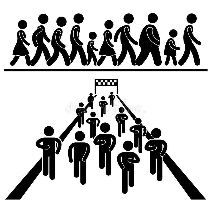 Gemenskapen går Pictograms för körningsmarschmaraton stock illustrationer