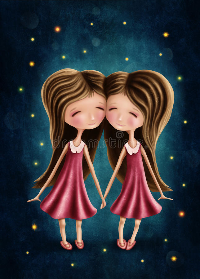 Gemini astrological sign girls royalty free illustration