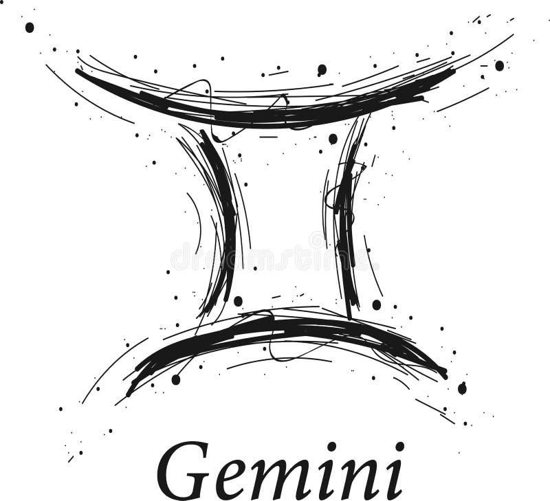 Gemini astrologii znak, ręka rysujący horoskop ilustracja wektor