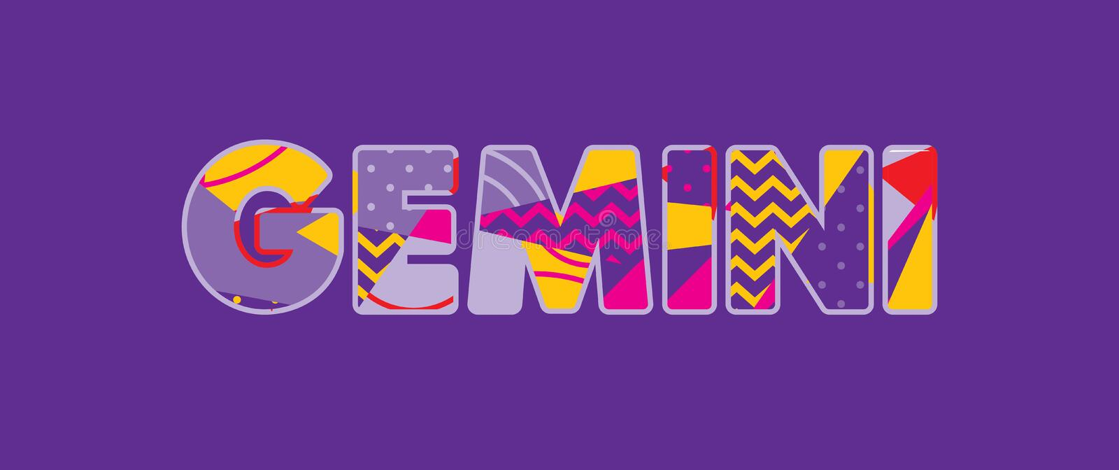 Gemini Concept Word Art Illustration. The word GEMINI concept written in colorful abstract typography. Vector EPS 10 available royalty free illustration