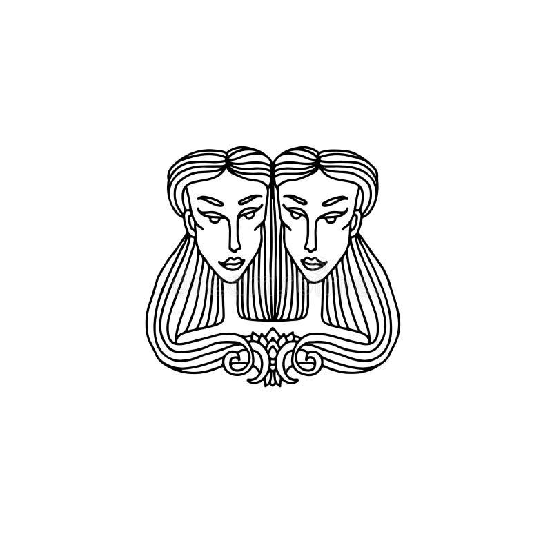 Gemini dziewczyny portret Zodiaka znak dla dorosłej kolorystyki książki Prosta czarny i biały wektorowa ilustracja ilustracja wektor