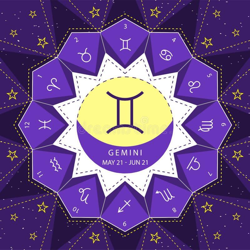 gemini I segni dello zodiaco descrivono il vettore di stile fissato sul fondo del cielo della stella illustrazione vettoriale