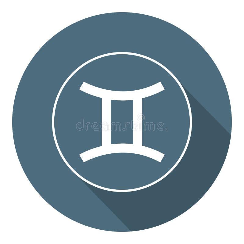 Gemini Icon Astrologisk vektor, horoskoptecken Zodiaksymbol Luftbest?ndsdel Plan stil etikett Vektorillustration f?r ditt stock illustrationer