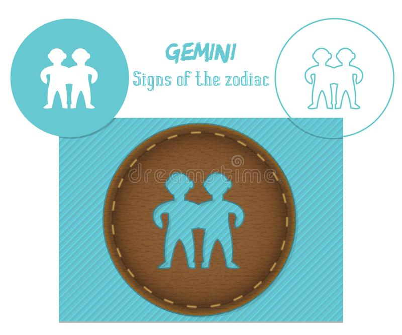 Gemini. Signs of the zodiac. Laser cutting. Can be applied to wood, metal, leather, paper, cardboard, plastic royalty free stock photo