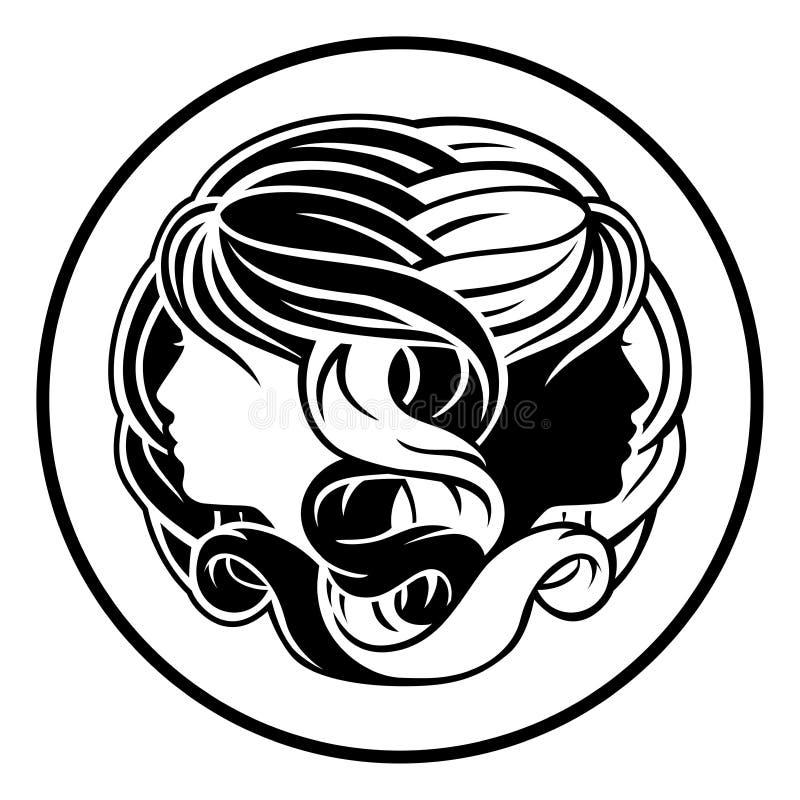 Gemini Twins Zodiac Horoscope Sign illustrazione di stock