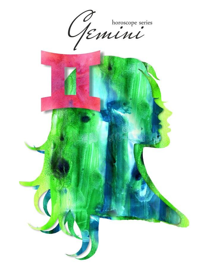 Gemini  zodiac sign. Beautiful girl silhouette. Watercolor illustration. Horoscope series stock illustration