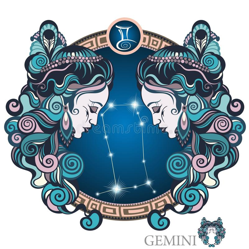 Gemini. Zodiac sign. Circle with stylized Zodiac sign Gemini as a woman vector illustration