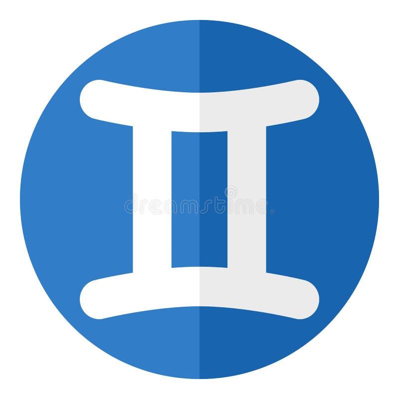 Gemini Zodiac Sign Flat Icon bleu sur le blanc illustration de vecteur